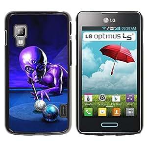 Qstar Arte & diseño plástico duro Fundas Cover Cubre Hard Case Cover para LG Optimus L5 II Dual E455 / E460 / Optimus Duet ( Ufo Pool Billiard Alien Grey Universe Control)