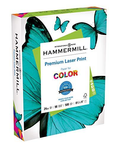 - Hammermill Paper, Premium Laser Print Paper, 8.5 x 11 Paper, Letter Size, 24lb Paper, 98 Bright, 1 Ream / 500 Sheets (104604R) Acid Free Paper
