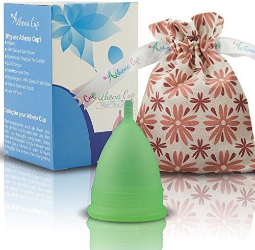 Athena Copa Menstrual – La copa menstrual más recomendada - Incluye una bolsa de regalo - Talla 1, verde transparente - ¡Ausencia de pérdidas ...