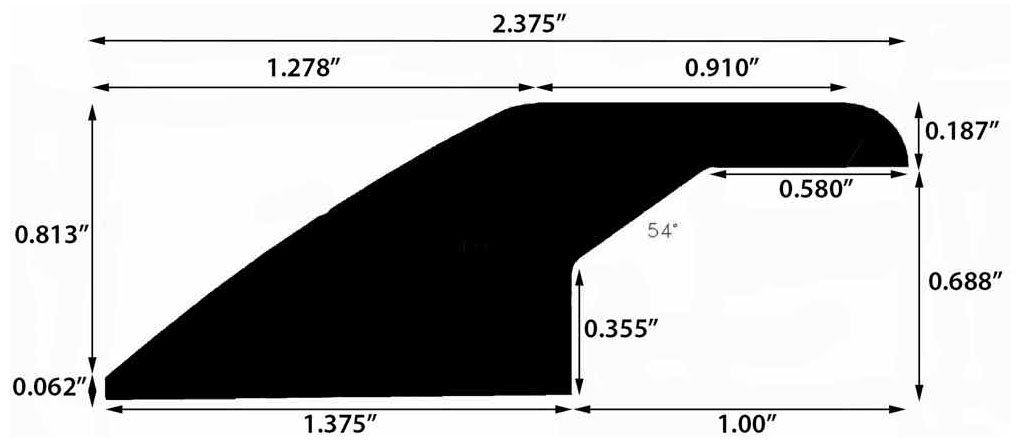 Moldings Online 3371578025 78 x 2.375 x 0.88 Natural Glossy Pecan Character Reducer Overlap