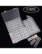 Caja Accesorios Diamond 3 Pack Cada con 28 Compartimentos Extraíble Diamante Bordado Caja para DIY,