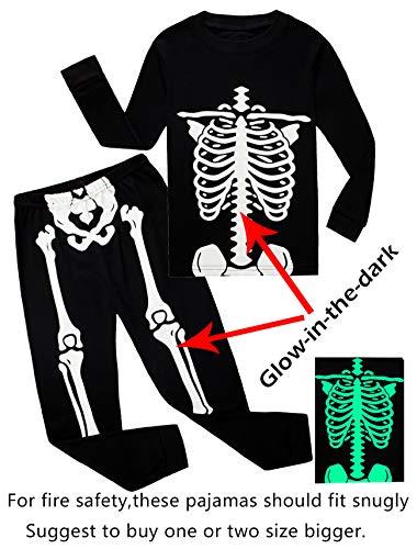 Cadidi Dinos Little Boys Girls Golw-in-The-Dark Skeleton Halloween Pajamas Sets Toddler Long Sleeve Kids Pjs Black Size 4T