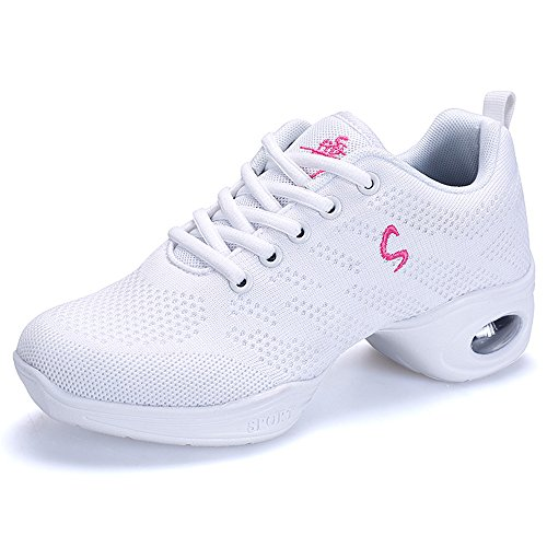 Yuanli Frauen Mesh Ballroom Tanzschuhe Leichte Jazz Schuhe Weiß883