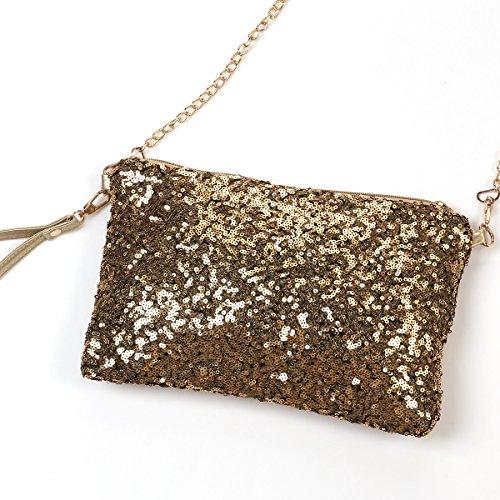 Tinksky Moda luccicanti paillettes signora partito sera frizione borsa, regalo festa della mamma o regalo per le donne (oro)