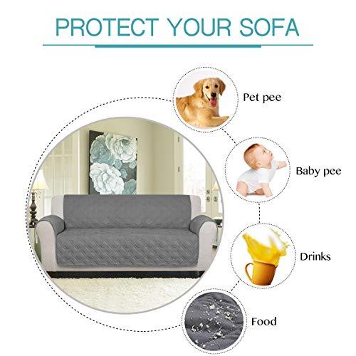 100% Waterproof Oversized Sofa Covers for Living Room Plush Faux Cotton Furniture Protector Slipcovers for Kids, Dogs, Pets, Anti Slip Backing (Seat Width: 78''-Oversized Sofa) - 86'' X 132'' Grey by PrimeBeau (Image #4)