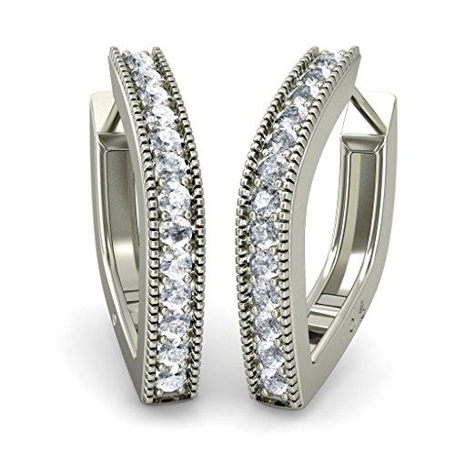 18K Or Blanc 0.39carat au total Round-cut-diamond (IJ | SI) Boucles d'oreilles créoles