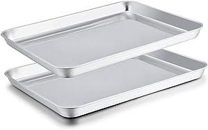 TeamFar Baking Sheet Set of 2, Stainless Steel Baking Pans Tray Cookie Sheet, Non Toxic & Healthy, Mirror Finish & Rust Free, Easy Clean & Dishwasher Safe