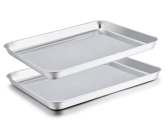 TeamFar Baking Sheet Set of 2, Stainless Steel Baking Pans Tray Cookie Sheet, Non Toxic & Healthy, Mirror Finish & Rust Free, Easy Clean & Dishwasher ...
