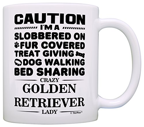 Dog Lover Gifts for Women Crazy Golden Retriever Lady Dog Mom Owner Gift Coffee Mug Tea Cup White (Golden Gift Retriever)