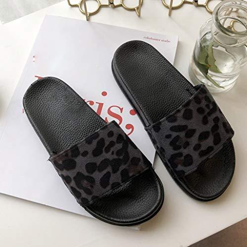 Cewtolkar Women Shoes Leopard Slippers Outdoor Flip Flops Peep Toe Sandals Loafers Shoes Soft Slippers Beach Flip Flops Black by Cewtolkar (Image #5)