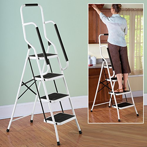 Folding Anti Slip Safety Step Ladder With Handrail Grips