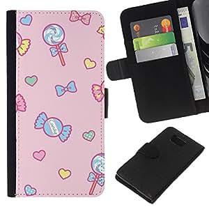 KLONGSHOP // Tirón de la caja Cartera de cuero con ranuras para tarjetas - caramelo del lollipop de San Valentín del corazón de color rosa - Samsung ALPHA G850 //