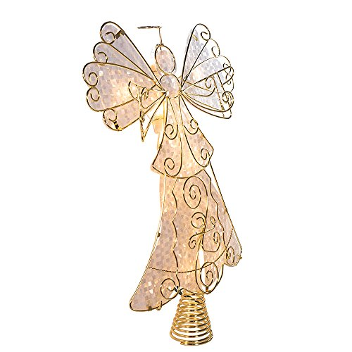 Kurt Adler UL 10-Light Metal Reflector Angel Christmas Treetop Figurine, 10-Inch by Kurt Adler
