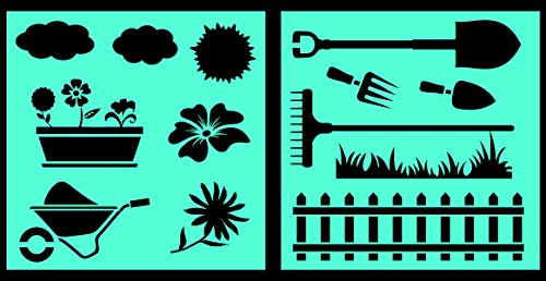 Auto Vynamics - STENCIL-GARDENSET01-10 - Detailed Gardening & Landscaping Stencil Set - Includes Wheelbarrow, Flowers, Equipment, & More! - 10-by-10-inch Sheet - (2) Piece Kit - Pair of Sheets
