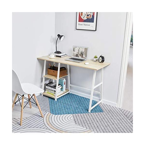Bureau d'ordinateur avec Rangement de 2 niches – Table de Bureau Table de Travail en Aggloméré et Acier Décor chêne…