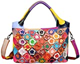 HESHE Hobo Organizer Multi-Color Stitching Splicing Shoulder Cross Body Top Handle Bags Handbags for Women with Flowers Summer Style (Colorful-2B4031)