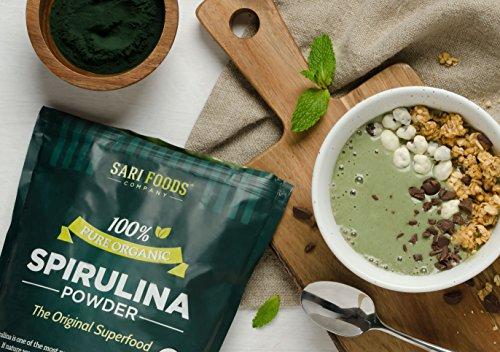 Organic Spirulina Powder (16 Ounce): Naturally Vegan, Supplies Folate, Vitamin B12, Iron, Omega Fatty Acids, GLA, Beta Carotene, Chlorophyll, Amino Acids