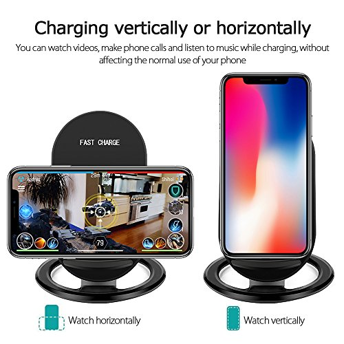 Hootech iPhone X Wireless Charger, QI Fast Wireless Charging Pad Stand, Standard Charge for Samsung Galaxy Note 8 S9 Plus S8 Plus S8 S7 S7 Edge Note 5, Standard Charge for iPhone X iPhone 8/8 Plus by Hootech (Image #2)