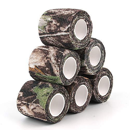 AIRSSON 6 Roll Camouflage Tape Cling Scope Wrap Military Camo Stretch Bandage Gun Rifle Shotgun Camping Hunting 2