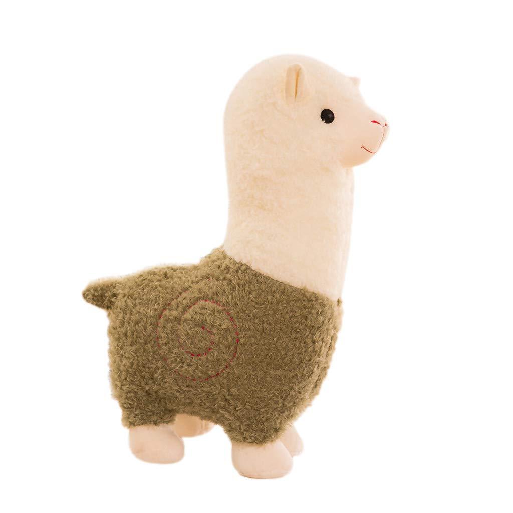 AKwell Alpaca Plush Toy, 11 Inches Cartoon Plush Fabric Llama Stitch Stuffed Doll Soft Animal Toys Kids Birthday Gift Toys Pillow Home Decoration
