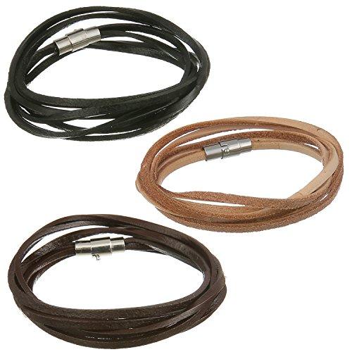 [Areke Mens Leather Bracelets Wristband - Long Magnetic Clasp Wrist Cuffs Bracelet Set Style Set of 3] (Punk Costume Nz)