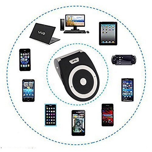Wireless Car Speaker Bluetooth Receiver Sun Visor Speakerphone Car Stereo Player Hands-free Car Kit for iPhone X/ iPhone 8/Plus Samsung Support by KLJ (Image #3)