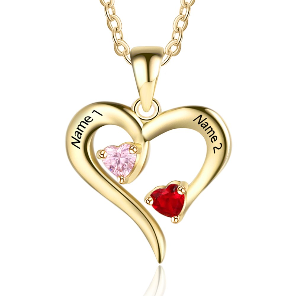 48c673fd510a4 925 Sterling Silver Personalized 2 Names Simulated Birthstones Necklaces 2  Couple Hearts Name Engraved Pendants for Women