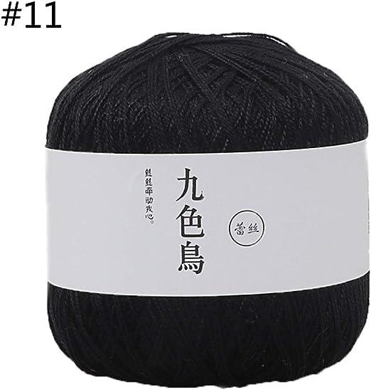 Remo-Y - Hilo de ganchillo de algodón y seda para tejer a mano, 50 ...
