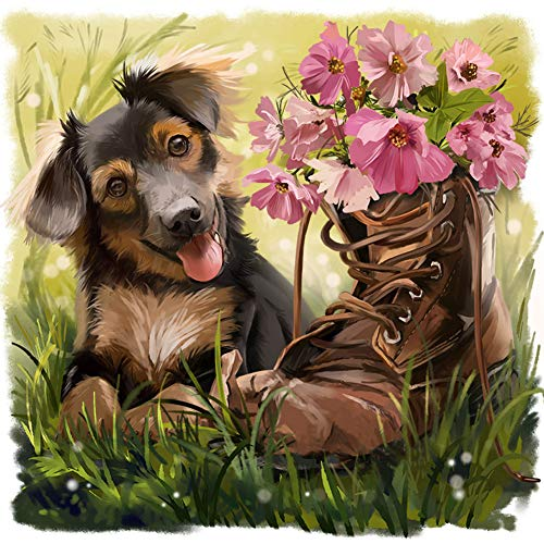 WOWDECOR 5D Diamond Painting Kits, Lovely Dog Shoes Flowers, Full Drill DIY Diamond Art Cross Stitch Paint by Numbers (Dog A)