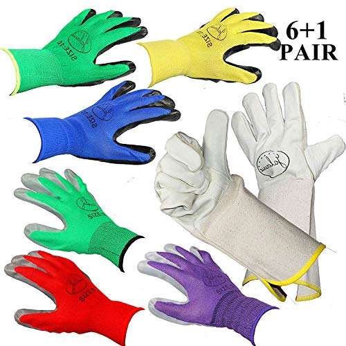 Gauntlets Latex - Jalousie 7 Pairs Garden Gloves Including 3 Pairs Women's Garden Gloves (Medium Size), 3 Pairs Men's Garden Gloves (Large Size) and 1 Pair Rose Pruning Gloves with Long Gauntlet (7 Pair Pack)