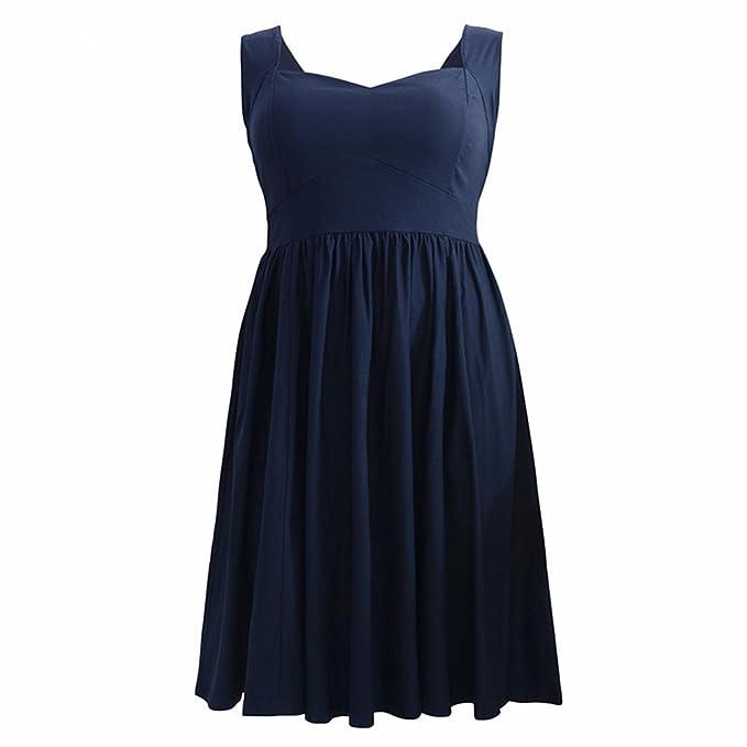 Década de 1950 Columpio sin Respaldo Vestido de Fiesta Coctel Vintage Vestido Gran Tamaño,Azul