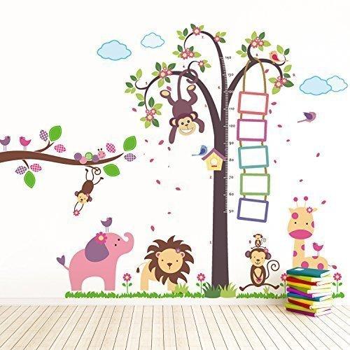Walplus-Adesivi da parete rimovibili per cameretta Monkey Height Measure (TM)-Huge Elephant animali, con scimmietta Nursery Kid's Room, 195 x 160 cm, colore: multicolore