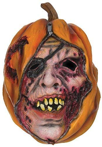 (Adult Mens Ladies Unzipped Punpkin Face Mask Halloween Fancy Dress Costume)