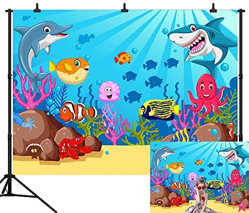 DePhoto 7X5FT(210X150CM) Cartoon Ocean Shark Birthday Party Seamless Vinyl Photography Backdrop Photo Background Studio Prop -