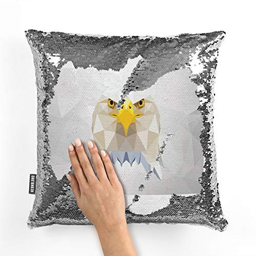 NEONBLOND Mermaid Pillow Cover Low Poly Zoo Animals Bald Eagle Reversible Sequin