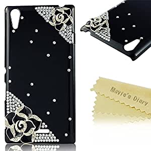 Sony Xperia T3 Case - Mavis's Diary 3D Handmade Golden Crystal Flower Bow Design Rhinestone Bling Elegant Case Cover for Sony Xperia T3 D5102 with Soft Clean Cloth (Camellia with Black Cover)