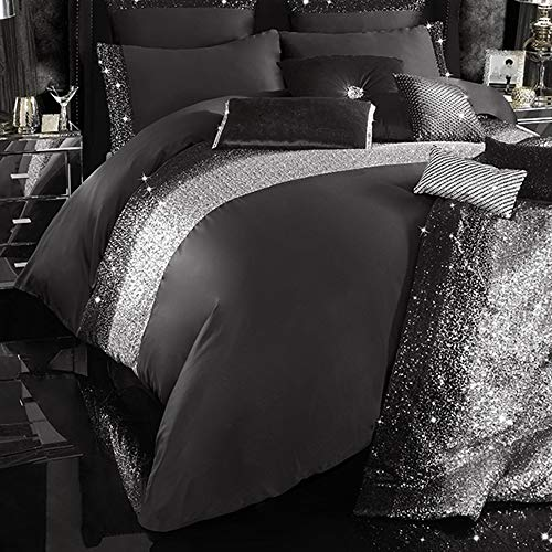 huma Luxury Sequin Duvet Quilt Cover Set,Decorative 3 Piece Bedding Set-King/Queen Comforter Set with Button Closure and 2 Pillow Shams,Black
