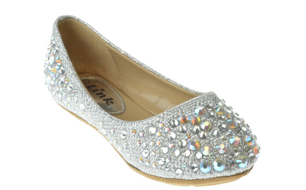 Link Girls Larisa-39K Rhinestone Ballet Ballerina Flats Shoes,Silver,3 by Link (Image #1)