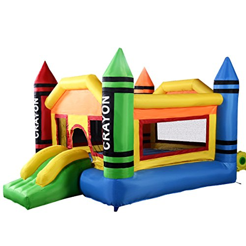 Costzon Inflatable Crayon Bounce House Castle Jumper Moonwalk Bouncer Without Blower (Jumpers Inflatable)