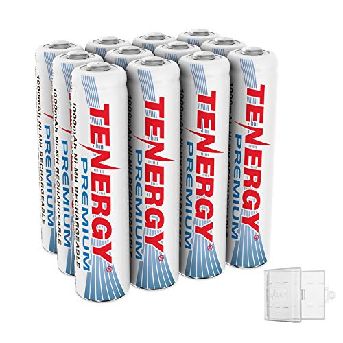 Tenergy 12 Pack Premium Rechargeable AAA Batteries, High Capacity 1000mAh NiMH AAA Batteries, AAA Cell Battery with 3 AAA Holders