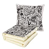 iPrint Quilt Dual-Use Pillow Doodle Music Collection with an Abstract Drawing Rock Jazz Blues Metal Classic Dancing Multifunctional Air-Conditioning Quilt Black White