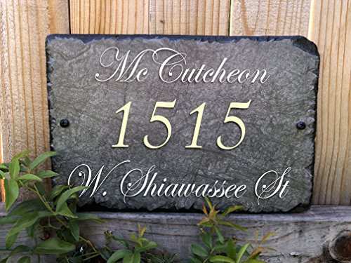 """Sassy Squirrel Beautifully Handcrafted and Customizable Slate Home Address Plaque (16""""x10"""" or 12""""x8"""") Personalized House Sign with and mounting Hardware. Improve The Curb Appeal of Your Property by Sassy Squirrel (Image #3)"""