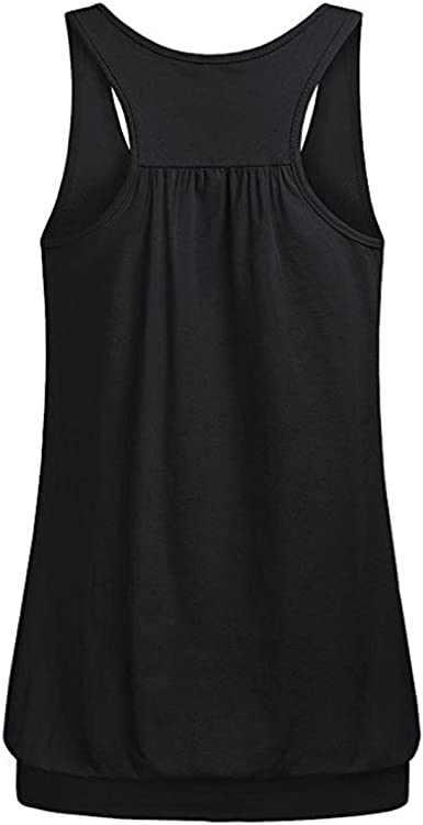 Womens Tank Top Sport Sleeveless Round Neck Wrinkled Loose Fit Racerback Workout Shirt