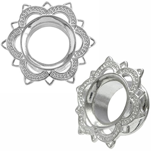 Flare Flesh Tunnel Ear Plug (Silver Stainless Steel Tribal Lotus Flower Double Flare Flesh Tunnel Ear Plug Stretching Kit Gauge 0g 8mm)