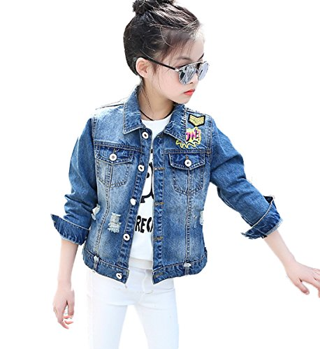 FAYALEQ Kids Girls Fashion Denim Jacket Casual Button Down Jean Outerwear Cowboy Coat (10-11 Years/Tag -