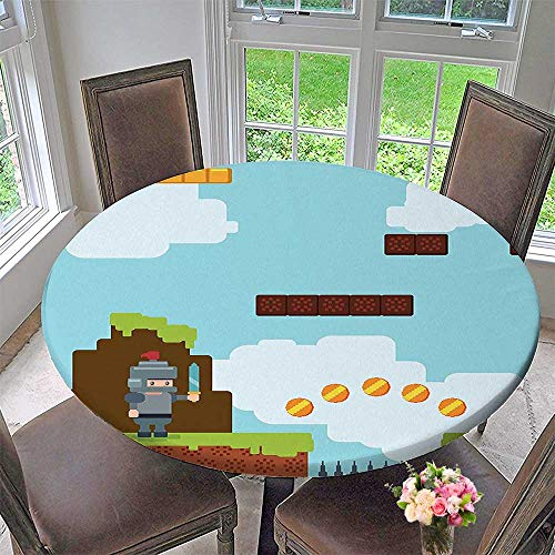 (Mikihome Round Table Tablecloth Video GamesArcade Fun Theme Knight with Sword Fireball Bonus Stars Coins for Wedding Restaurant Party 35.5