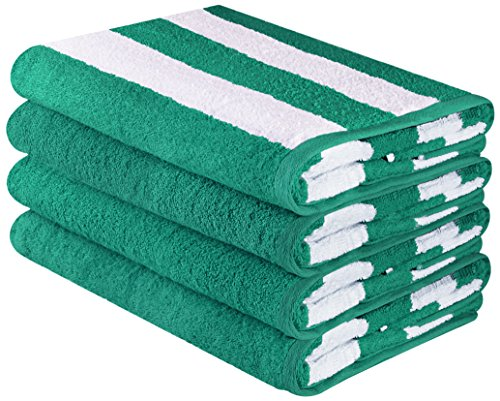 Utopia Towels Large Beach Towel - Cotton Pool Towels - Cabana Stripe Towels (4 Pack, 30 x 60 Inches) (Monogrammed Terry Cloth Beach Towel)