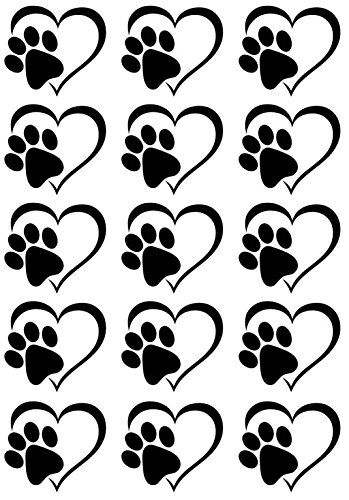 Heart Dog Cat Paw Print Black 17CC795 Fused Glass - Enamel Black Decal Fusible
