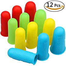 Silicone Finger Protectors 12pcs 4 Colors FDA Hot Glue Gun Finger Caps for Hot Glue Wax Rosin Resin Honey Adhesives Scrapbooking Sewing in 3 Sizes