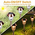 XMCOSY Solar Garden Lights - Pathway Lights Outdoor (4 Pack), IP65 Waterproof Glass Cover, 8-10 Hours Long Lighting Time, 40 Lumens Warm White Light for Garden, Path, Yard and Walkway